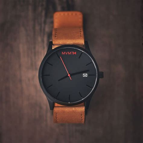 black leather by mvmt watches the classic