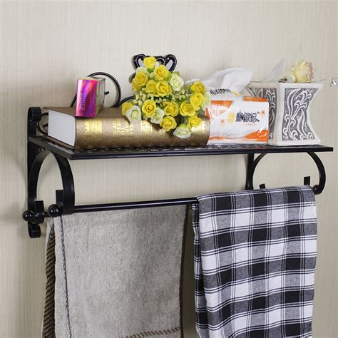 Wrought Iron Towel Rack Towel Bar Bathroom Shelf Wall Wrought Iron Bathroom Shelves