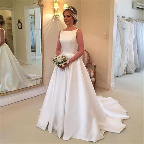 milla nova white satin wedding dresses