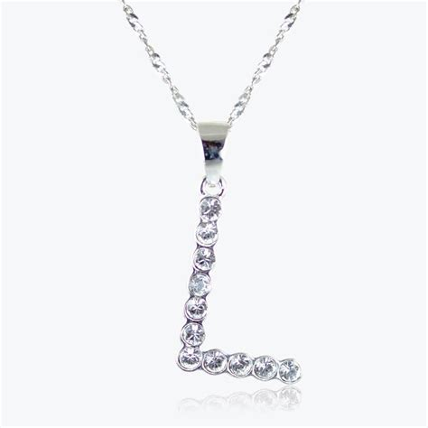 L Necklace sterling silver l initial necklace made with swarovski