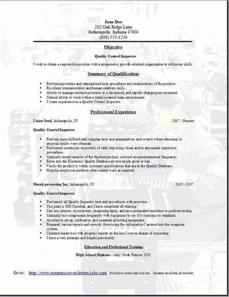 entry level qa resume sle quality inspector resume sle 28 images best custom