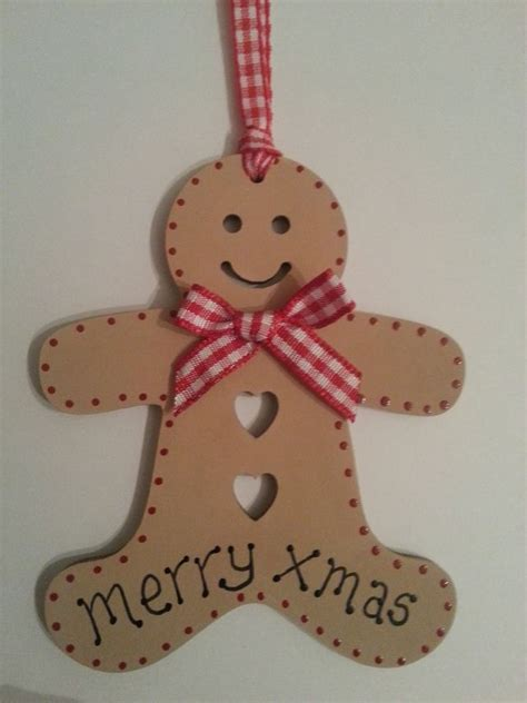 wooden christmas gingerbread man gift tag or christmas