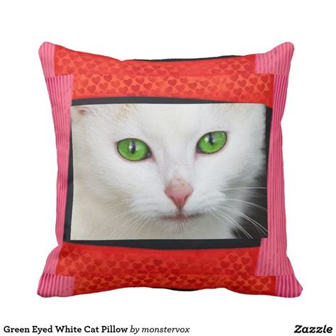 Green Pillow Pet by Green Eyed White Cat Pillow Cat Pet Greeneyes Animal