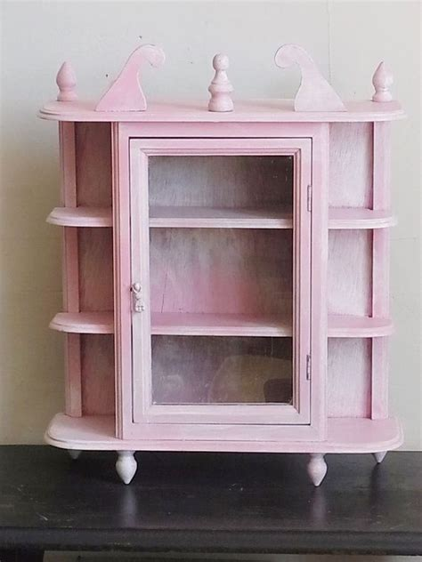 White Curio Wall Cabinet by Shabby Chic Curio Cabinet Pink And White Wall By