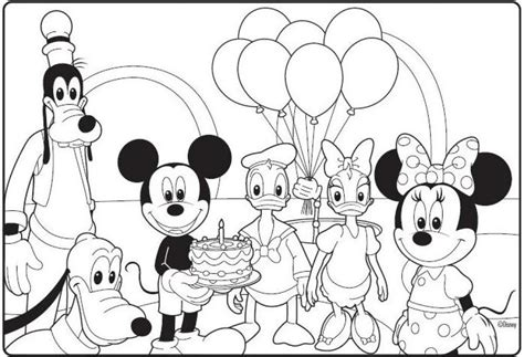 Mickey Mouse Birthday Coloring Pages Pertaining To Inspire Mickey Mouse Birthday Coloring Pages