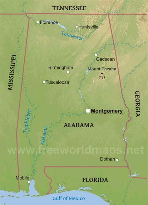 physical map of alabama physical map of alabama