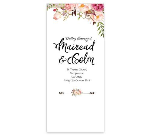 Flowering Affection Wedding Ceremony Booklet   Loving