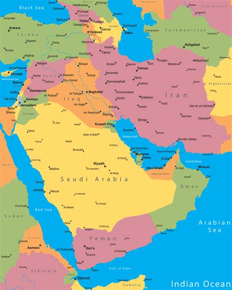 middle east city map middle east cities map