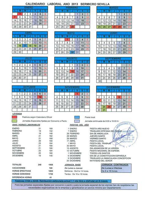 Calendario 2017 Laboral Calendar Calendario Laboral 2017