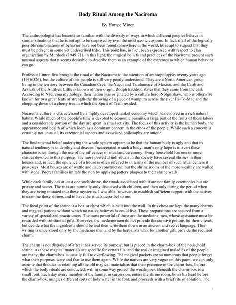 Ritual Among The Nacirema Essay by Ritual Among The Nacirema Essay By Miner Pdf Available