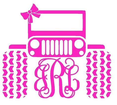 Jeep Initials Monogram Initials Jeep Pink Vinyl Sticker Decal For
