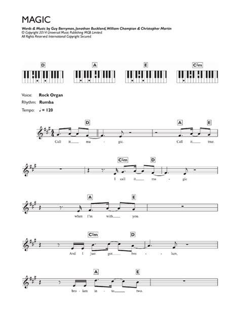 coldplay magic chords magic sheet music by coldplay keyboard 119006