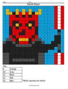 wars color by number printables darth maul color by number answer key
