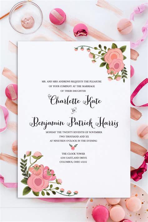 print blush free wedding invitation set