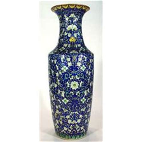 Large Yellow Floor Vase Large Blue White And Yellow Floral Enamelled