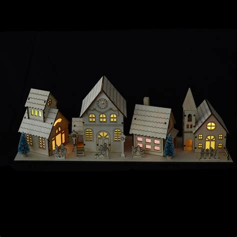 light up colour changing led light 4pc wooden village