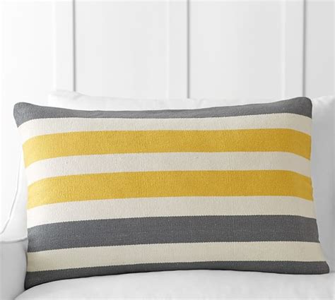 Tri Pillows by Tri Color Awning Stripe Lumbar Pillow Cover Pottery Barn