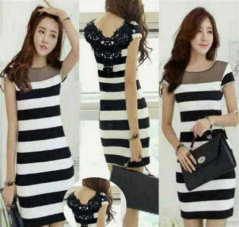 Dres Mini Salur baju dress cantik corak motif salur belang model terbaru