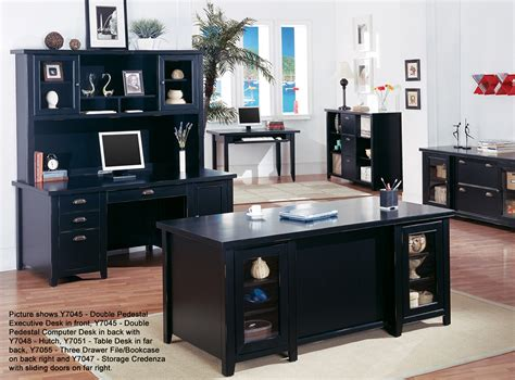 Tribeca Loft Black Office Furniture Double Pedestal Black Executive Office Desk