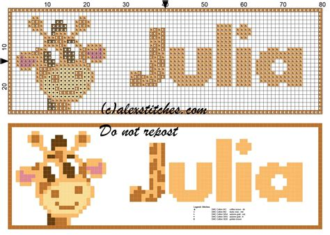 name pattern for cross stitch julia name with giraffe cross stitch pattern free cross
