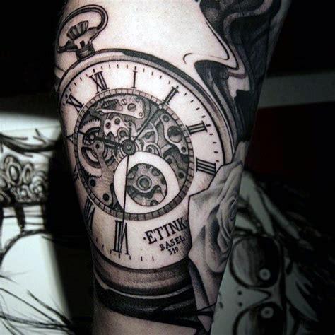 mechanical watch tattoo cool grey mechanical clock tattoo guys upper arms