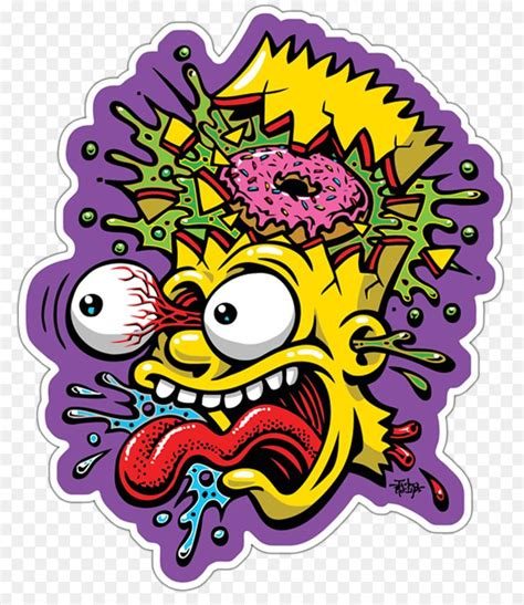 bart simpson drawing art museum poster stickers