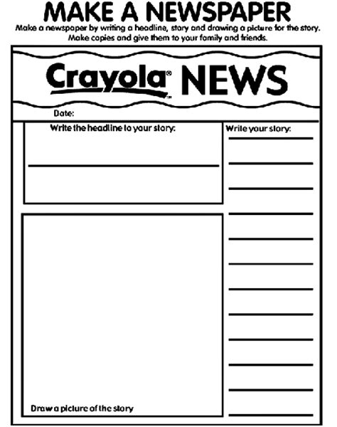 Make Your Own News Paper - my newspaper coloring page crayola