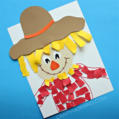 Paper Arts And Crafts For Children - torn paper scarecrow craft crafty morning