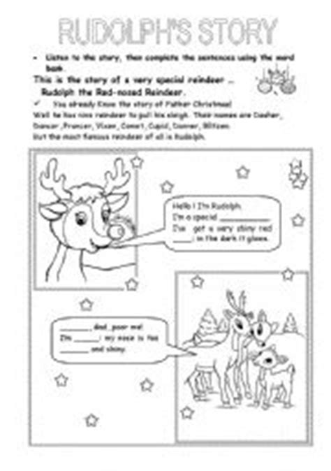 printable reindeer story english teaching worksheets rudolph the red nosed reindeer