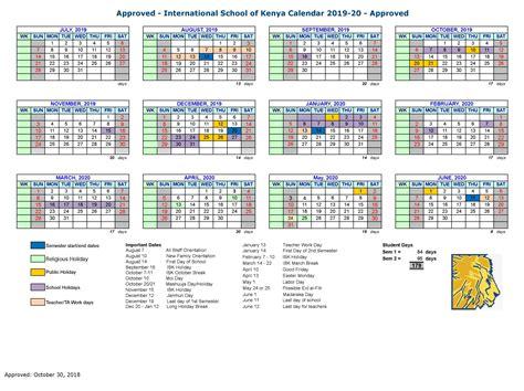school calendar international school  kenya