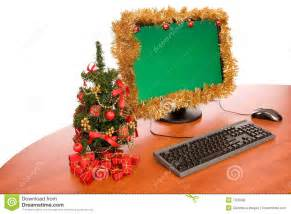 Small Desk Christmas Decorations Office Desk With Christmas Decoration Stock Photo Image