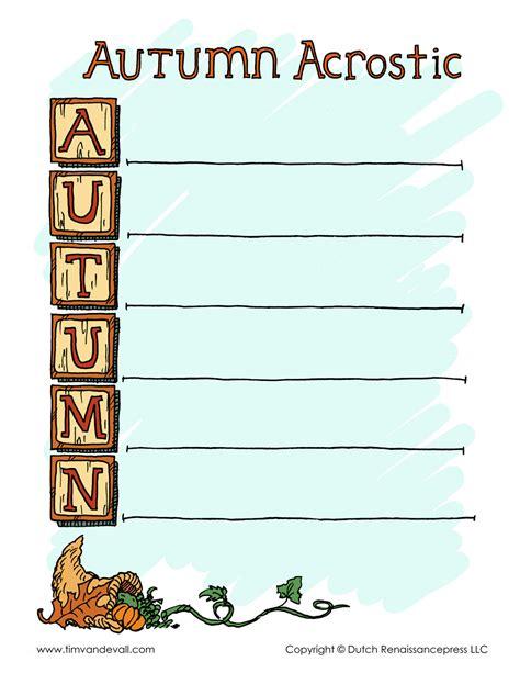 acrostic poem template autumn acrostic poem template tim s printables