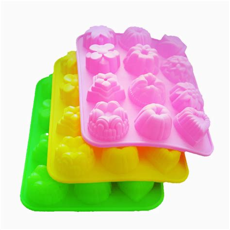 Cetakan Silicon And Flower 14 Holes ebluejay multipurpose 12 holes flowers silicone cake mold mold jelly pudding mold