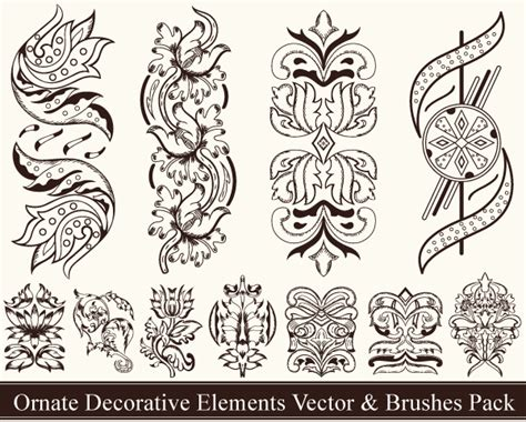 ornate pattern brush ornate decorative elements vector pack vector