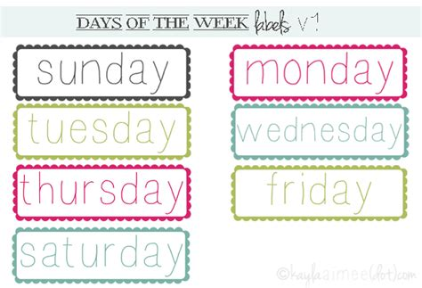 printable calendar labels for classroom free days of the week labels printable pinterest
