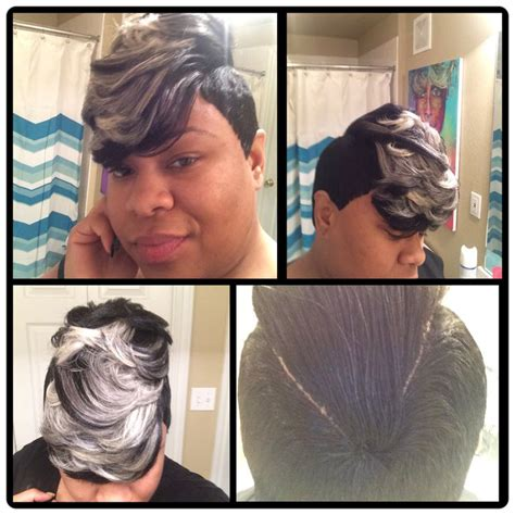 Platinum Blonde 27 Piece Hair | 27 piece quick weave short cut with jet black grey and