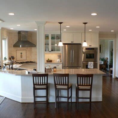 kitchen layout ideas with peninsula kitchen peninsula design with column love i sooo wanna
