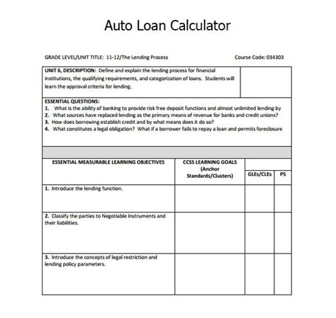 auto loan calculator loan calculator templates sles and templates