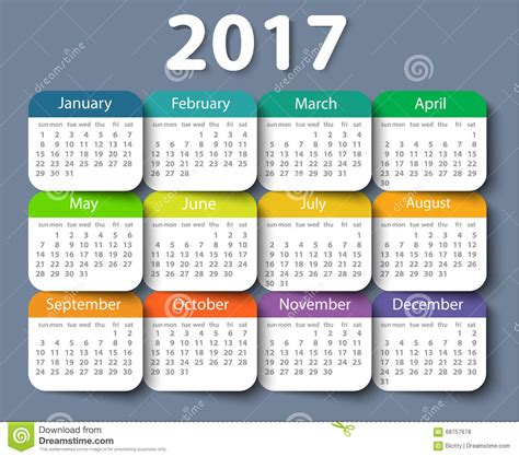 calendar 2017 design calendar 2017 year vector design template stock vector
