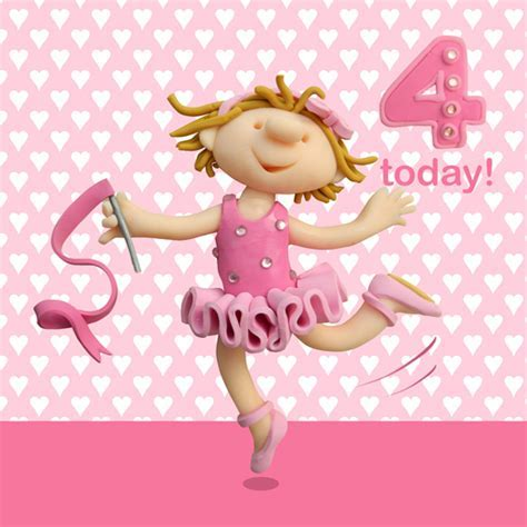 4 Today Girls 4th Birthday Card   Cards   Love Kates
