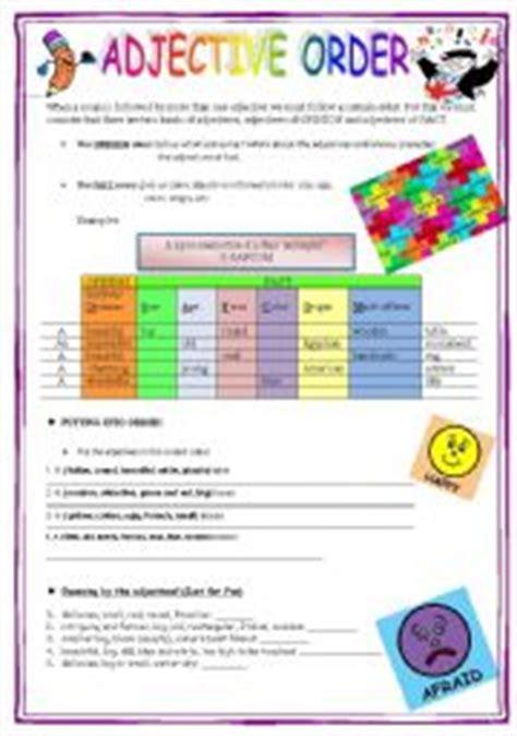 Order Of Adjectives Worksheet Pdf by Esl Worksheets For Adults Adjective Order