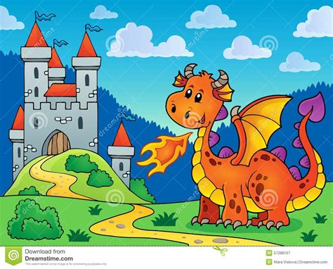 dragones del castillo ruinoso drag 243 n anaranjado feliz cerca del castillo ilustraci 243 n del vector imagen 57268107