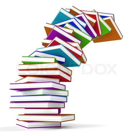 the of falling books stack of colorful falling books representing learning and