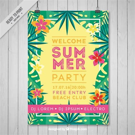 summer party flyer with tropical flowers vector free