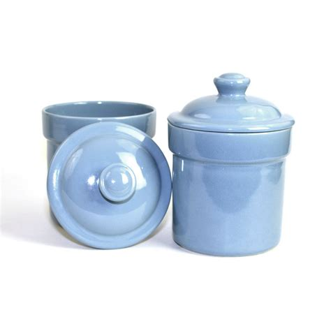 blue kitchen canister set by treasure craft usa by onerustynail