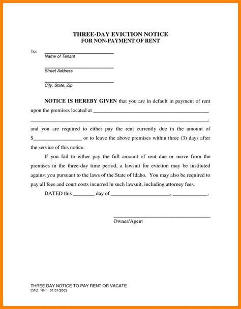 Lease Eviction Letter 11 Sle Eviction Notice For Nonpayment Of Rent Handy