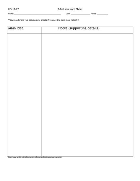 two column notes template 7 best images of printable two column notes blank 2