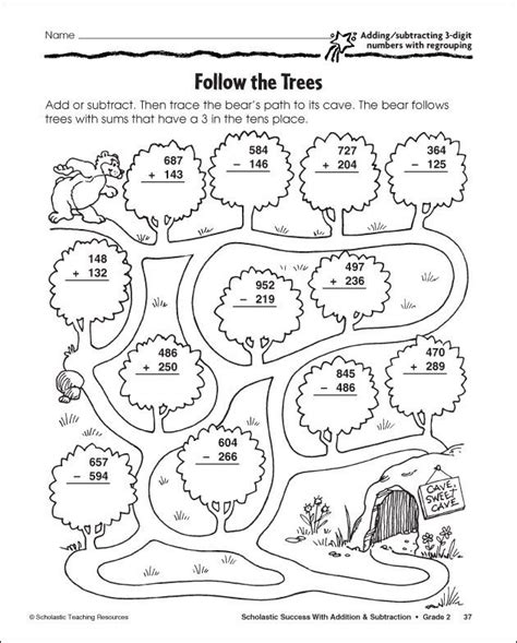 Coloring Page Grade 3 by 3 Digit Subtraction With Regrouping Coloring Sheet 3rd