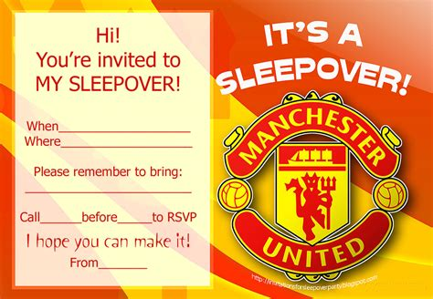 Printable Manchester United Birthday Invitations | invitations for sleepover party