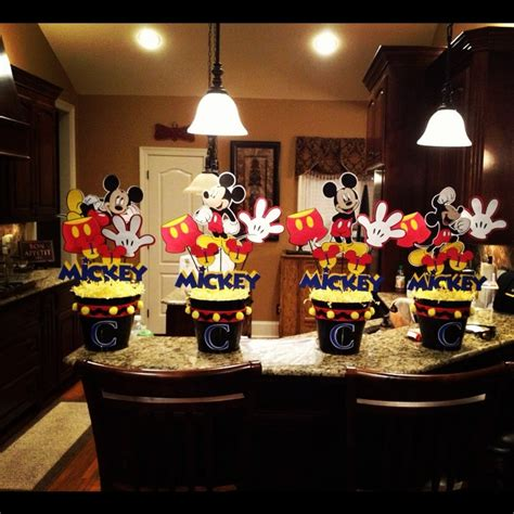 mickey mouse centerpieces for coen s 1st birthday mickey mouse centerpiece ideas pinterest